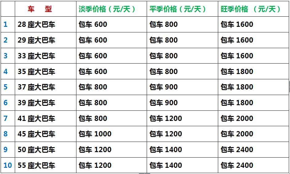 呼伦贝尔包车旅游大巴车价格表