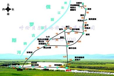 呼伦贝尔至漠河北极村旅游包车_高清手绘地图